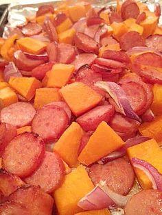 Roasted Butternut Squash and Kielbasa (Skillet Squash Recipes) Sausage Recipes, Veggie Recipes, Paleo Recipes, Cooking Recipes, Clean Eating, Healthy Eating, Good Food, Yummy Food, Roasted Butternut Squash