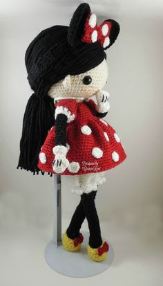 ATTENTION - Keep in mind that this is a crochet pattern in a PDF. This is NOT the finished product. Minnie is approximately 17 inches tall. Also, please keep in mind that this doll cannot stand up on its own. This is a non-refundable purchase. Once the payment has been confirmed you