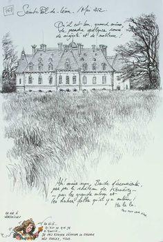 drawing including view of Château de Kernévez. Yann Lesacher