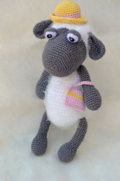 Handmade Crochet Black sheep, Fun animal toy ...