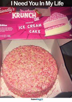 Strawberry ice cream crunch cake