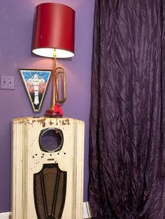 for the RETRO ROCkStar living room for JOHN EVans on HGTV . .   old trumpet turned light!  {junk gypsy co, http://gypsyville.com/ }