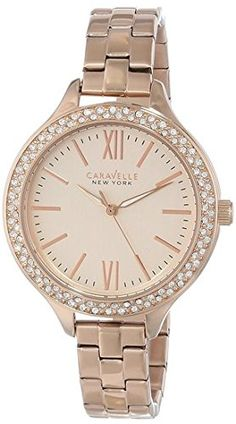 Caravelle New York Women's Swarvoski Crystal Rose Gold Tone Watch: In stainless steel with rose-gold finish, 96 individually hand-set crystals, rose-gold dial, luminous hands, and second hand. Bulova Watches, Michael Kors Watch, Watch Bands, Gold Watch, Quartz, Rose Gold, Stuff To Buy, Crystal Rose, Things To Sell