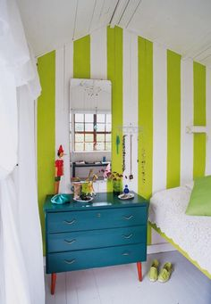 Master bedroom night stands :) bright & vibrants play off turquoise & lime tone it down with chocolate brown !!!! tiny gardens, color, lime, hous, striped walls, guest rooms, bedroom, accent walls, chest of drawers