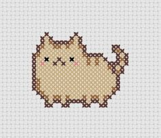 Pudge Kawaii Cat Cross Stitch (Printable PDF Pattern) Cute Cat / Kitten / Kitty. $1.00, via Etsy. | REPINNED