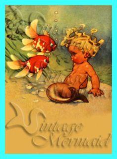 s294 Vintage baby Mermaid postcard Cotton by wwwvintagemermaidcom, $7.00