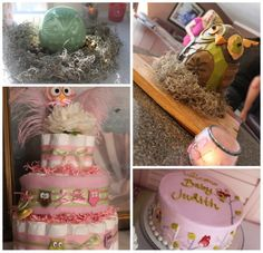 Cute diaper cake...love the feathers at the top.