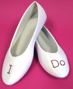 I Do Bridal Ballet Flats - Perfect Bridal Shoes! $49.95 the stones can be blue so you will have something blue on :) www.advantagebridal.com @Evie Anderson