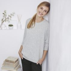 Rectangular Rib Sweater - Pale Grey Marl from The White Company