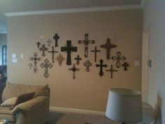 wall of crosses | Now to the fun room- the room I did very first thing! AVA's ROOM!!!