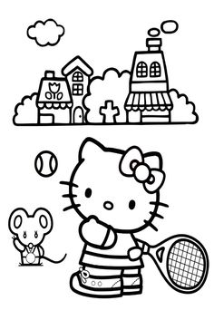 Hello Kitty Playing Tennis