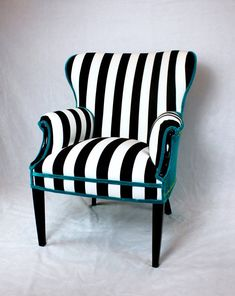 Sold- Black and White striped Vintage Round Wing Back Chair with turquoise Velvet gold nailhead trim
