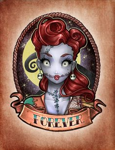 "Artist: Tim Shumate ~ ""FOREVER pinup"" art print ~ Turning Tim Burton's Nightmare Before Christmas into a vintage tattoo = GENIUS!"