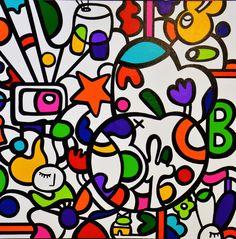 Virginia Benedicto - Harry's Life - Acrylique sur toile - 100x100cm - 2015 #virginiabenedicto #artwork #artcontemporain #galerieduret