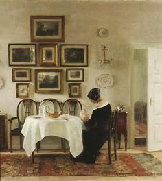"Carl Vilhelm Holsoe  ""Mother and Child in a Dining Room Interior"""
