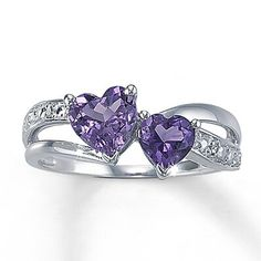 Kay Jewelers - Amethyst Heart Ring With Diamond Accents Sterling Silver