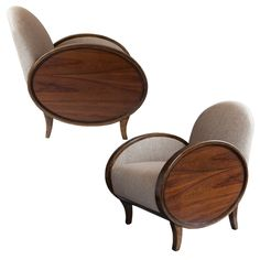 Pair of Swedish Art Deco Bergeres with oval rosewood panels