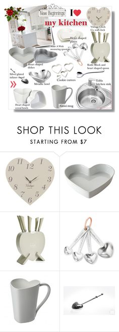 """I Heart My Kitchen ~ White and Silver Decor"" by alexandrazeres ❤ liked on Polyvore featuring interior, interiors, interior design, home, home decor, interior decorating, CO, Alessi, Nearly Natural and kitchen"