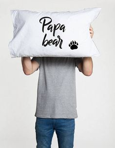 Papa Bear pillow (1 piece)   Let into your home a little, cute pillow case for your best Father! Just hug the pillow and smile with that! :)  All pillowcases made with love and are 100% handmade. This hand drawing is very pleasant to the skin and do not interfere with sleep, as the fabric absorbs the paint and doesn't remains on its surface, unlike the print technique.   Washing instructions: * Wash at 30 degrees C * Wash without the use of chlorine * Iron at high temperature Material: 100%…
