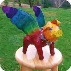 """Prism the FlyAway Pig"" Upcycled Paper Mache Flying Pig"