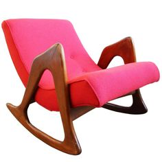 Adrian Pearsall Style Sculptural Walnut Rocker Lounge Chair | From a unique collection of antique and modern chairs at https://www.1stdibs.com/furniture/seating/chairs/