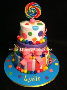 Lollipop, Colorful, girly cake.