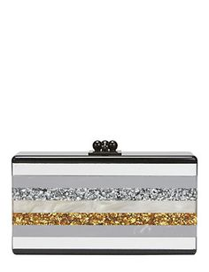Edie Parker Jean Metallic Striped Box Clutch