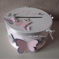 Urne de baptême personnalisée - thème papillons - rose et gris