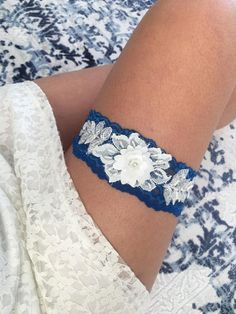 Lace Garter, Wedding Garter Set, Bridal Garter Set, Garter, Country Shabby Chic, Shabby Navy Wedding Garter Belt, Navy Garter Set, Wedding sandals, Wedding Anklet, Bridal beach Shoes, Bridesmaid Gifts, Beach Party Shoes, Wedding Photography, white or ivory Lace Barefoot Sandals,
