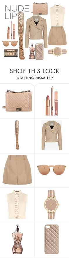 """""""Nude lips"""" by minasworld ❤ liked on Polyvore featuring beauty, Chanel, Dolce Vita, Vince Camuto, IRO, Chloé, Illesteva, Kate Spade, Jean-Paul Gaultier and The Case Factory"""