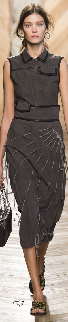 Bottega Veneta S-16 RTW: suede dress with ropes. (Expand pin cuz this is a scroll-down wtf concept)