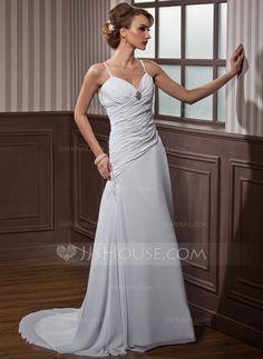Wedding Dresses - $118.19 - A-Line/Princess Sweetheart Court Train Chiffon Wedding Dress With Ruffle Lace Beadwork Crystal Brooch (002011468) http://jjshouse.com/A-Line-Princess-Sweetheart-Court-Train-Chiffon-Wedding-Dress-With-Ruffle-Lace-Beadwork-Crystal-Brooch-002011468-g11468