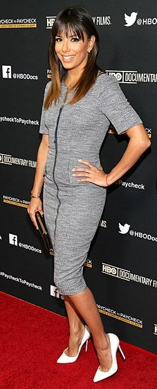 Eva Longoria wears a Philosophy dress, a Brian Atwood clutch and white Louboutins to the Paycheck to Paycheck premiere
