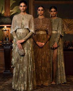 saree style gowns with a tassled cape by indian fashion designer sabyasachi mukherjee Pakistani Dresses, Indian Dresses, Indian Outfits, Indian Attire, Indian Wear, Indian Wedding Wear, Wedding Dress, Boho Wedding, Sabyasachi Sarees