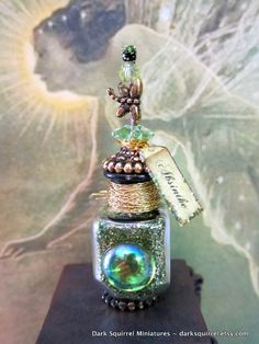 Deluxe Absinthe Potion Bottle dollhouse miniature in one inch scale