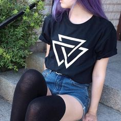 Tb to summer and this outfit that I haven't shown you guys yet  tee from @cultclothing_ and vintage denim shorts by aliencreature