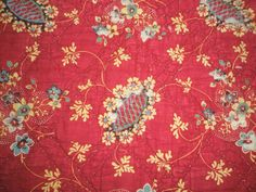 Diane Thalmann - English and French Antique Textiles: BEAUTIFUL RED FLORAL PRINTED FRENCH PROVENCAL QUILT WITH PINK STRIPE BORDER - 1850 - 1900