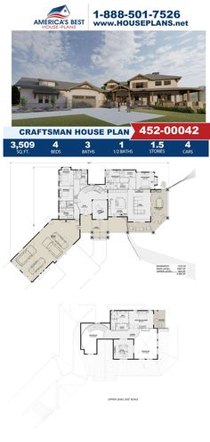 Fall in love with this extravagant Craftsman design that features 3,509 sq. ft., 4 bedrooms, 3.5 bathrooms, an office area, a covered porch, two owners suites and an open floor plan. Learn more about Plan 425-00042 on our website today. Craftsman Style Homes, Craftsman House Plans, Floor Plan Drawing, Cost To Build, Best House Plans, Build Your Dream Home, Architectural Elements, Open Floor, Building Materials