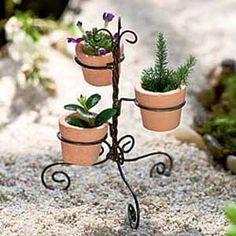 Dollhouse Miniature Fairy Garden Wire Pot Stand w Pots Mini Fairy Garden, Fairy Garden Houses, Garden Fun, Gnome Garden, Fairies Garden, Miniature Plants, Miniature Fairy Gardens, Miniature Dollhouse, Fairy Furniture
