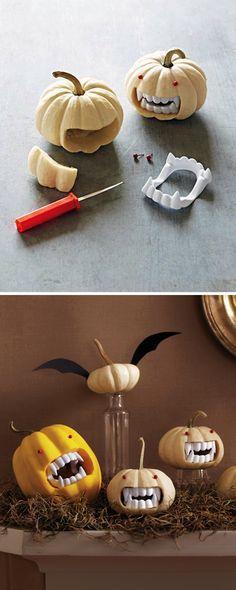 Fanged Pumpkins. Halloween Vampire pumpkins (LOL)
