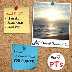 A travel physical therapy job in Ormond Beach, Florida. This travel PT opportunity is a 13 week assignment at an acute needs facility. Contact Advanced Medical, a physical therapy staffing agency, at (800) 330-7711 or visit http://www.advanced-medical.net