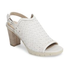 Women's The Flexx Weave Me Be Slingback Sandal (2.885 ARS) ❤ liked on Polyvore featuring shoes, sandals, white leather, white braided sandals, white leather sandals, leather shoes, block-heel sandals and slingback sandals