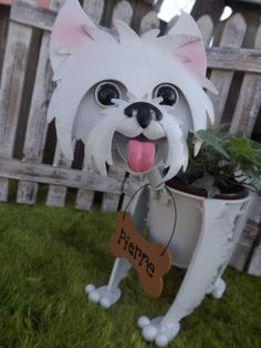 Personalized Westie Dog Garden Planter by IngridsSecretGarden