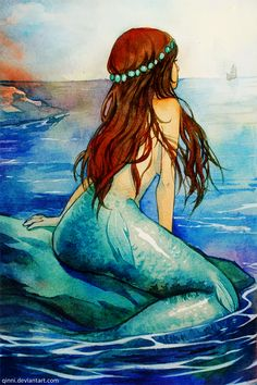 Little Mermaid - Waiting for her Prince by =Qinni on deviantART---love the additional fins on her tail