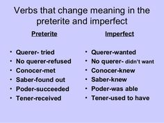 Verbs that change meaning in the preterite and imperfect Preterite Imperfect• Querer- tried • Querer-wanted• No querer-refused • No querer- didn't want• ...