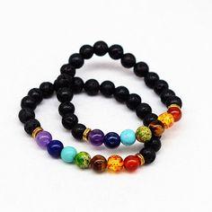 10pcs 8mm black lava Healing Balance Yoga Prayer Mixed Color Crystal Bead 7 Chakra Bracelet Reiki Bracelet Gift For Women