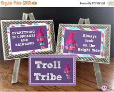 50% OFF Troll Party Signs Set  Large Circles Party