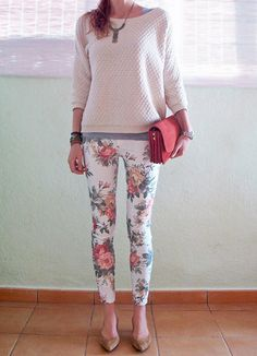 love the colors. floral jeans, cozy sweater, a pump, red clutch! adorable.