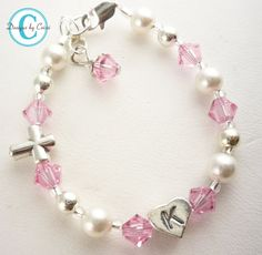 Baptism Bracelet Christening Cross Initial Pearl Crystal, chose colors girls, baby, toddler, white pink cream baby gift, first communion on Etsy, $20.00