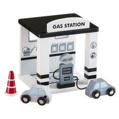 Houten benzinestation wit-lichtgrijs Kids Concept